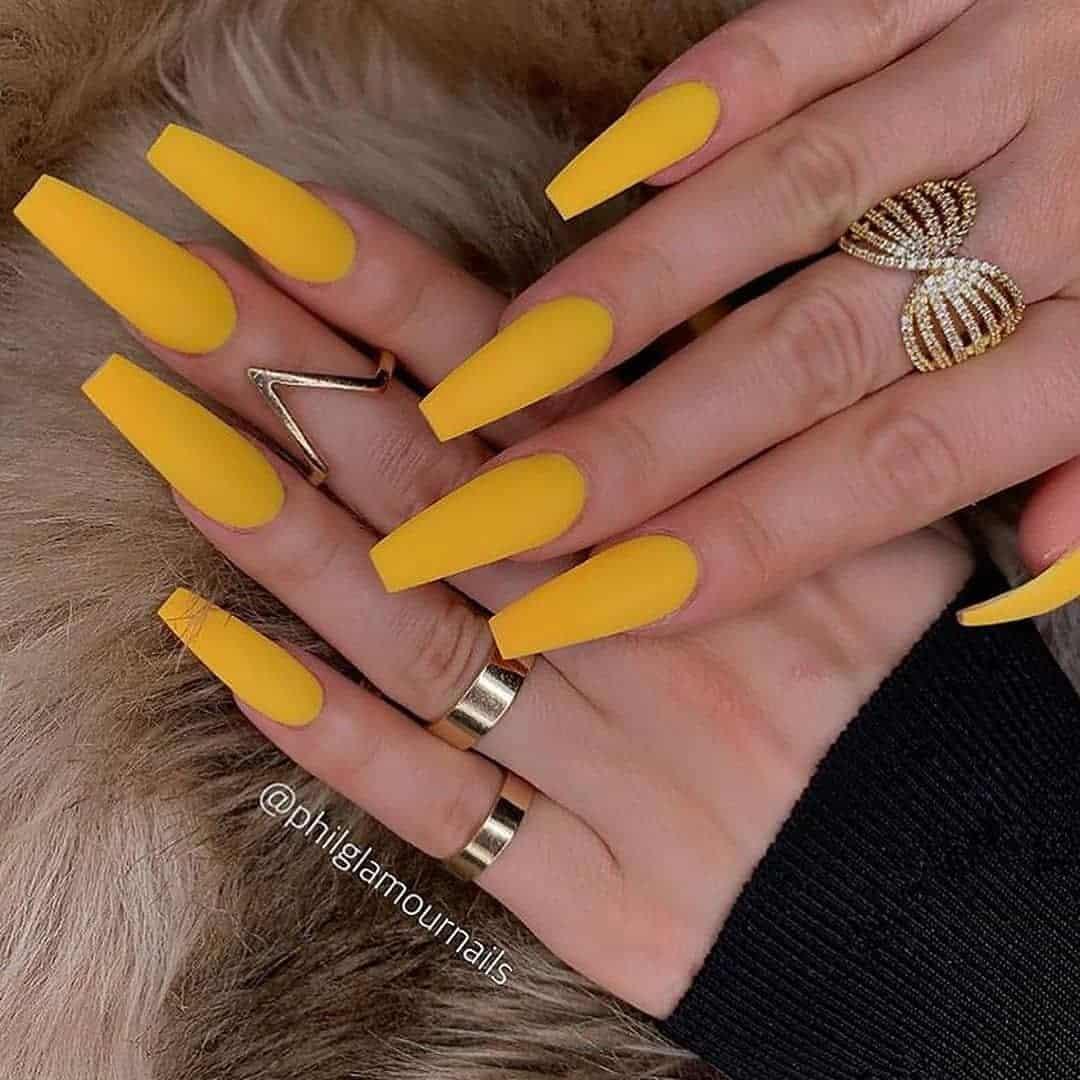 mustard yellow medium coffin nails