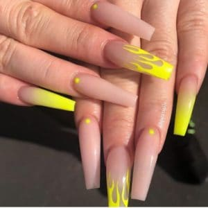 nude yellow nails