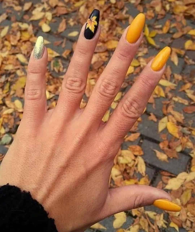 yellow short fall nails
