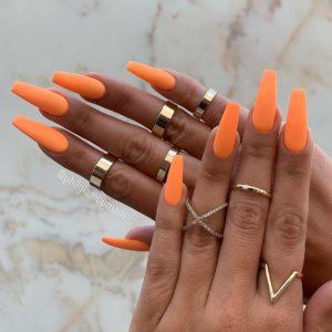 orange medium coffin nails