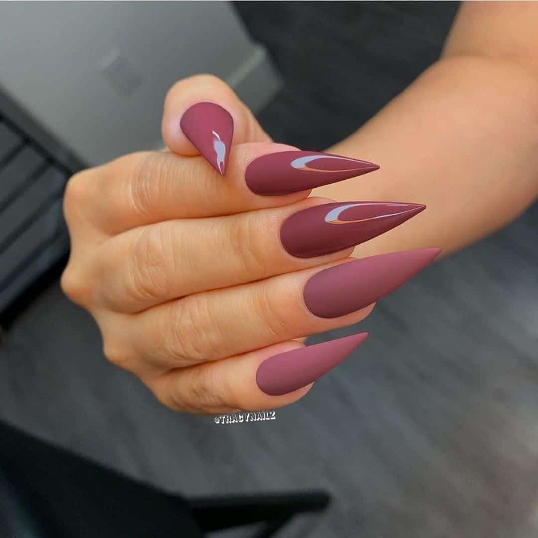 burgundy nude stiletto nails