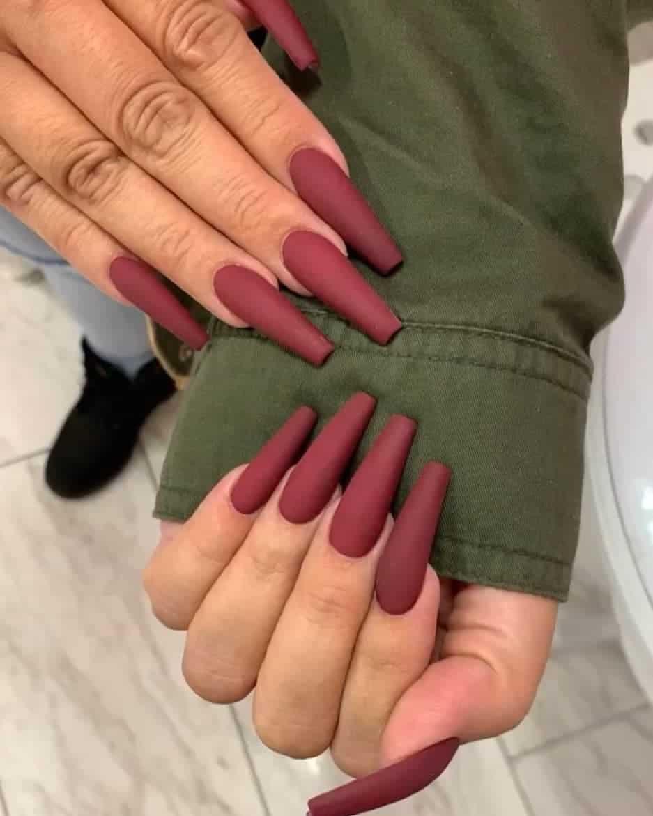 burgundy long coffin nails
