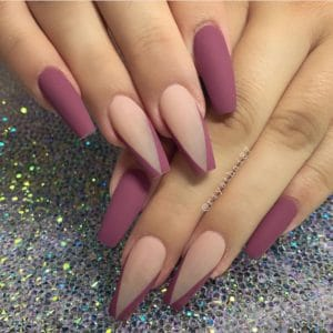 nude and purple medium coffin nails