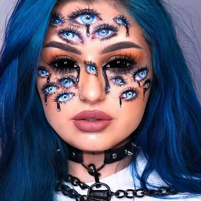 multiple eyes easy halloween makeup