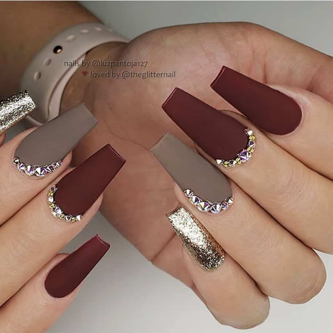 gray and burgundy medium coffin nails
