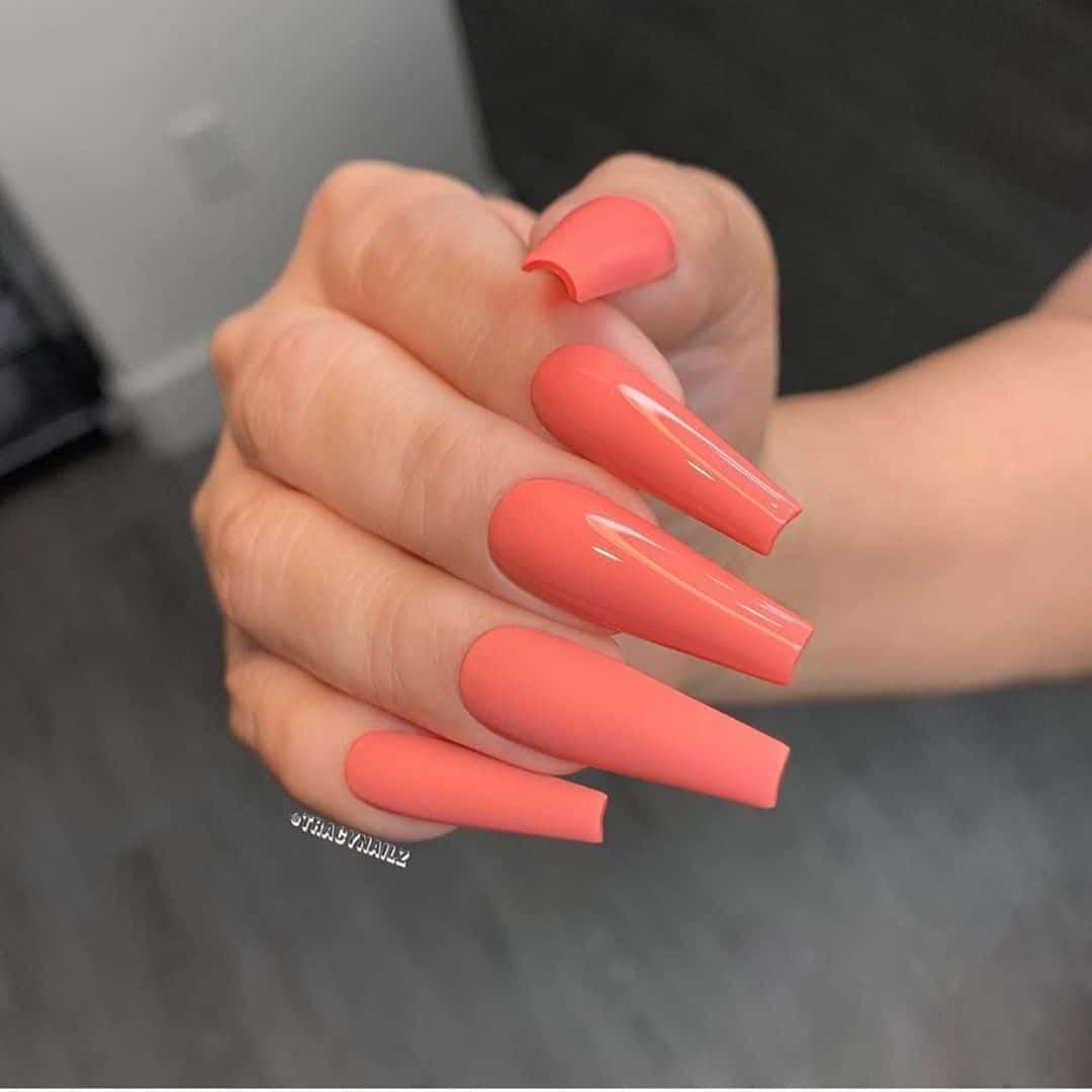 long orange coffin nails