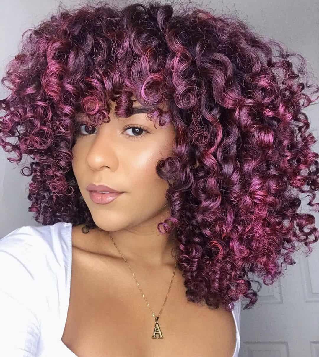 purple hair dye on curly hair
