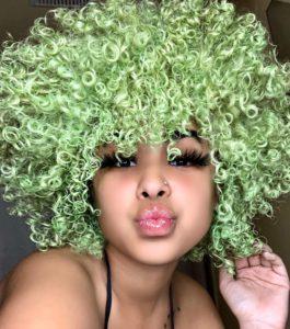 green dye on curly hair
