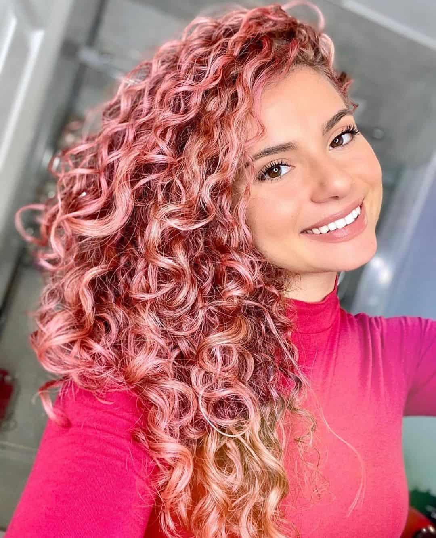 pink hair dye on curly hair