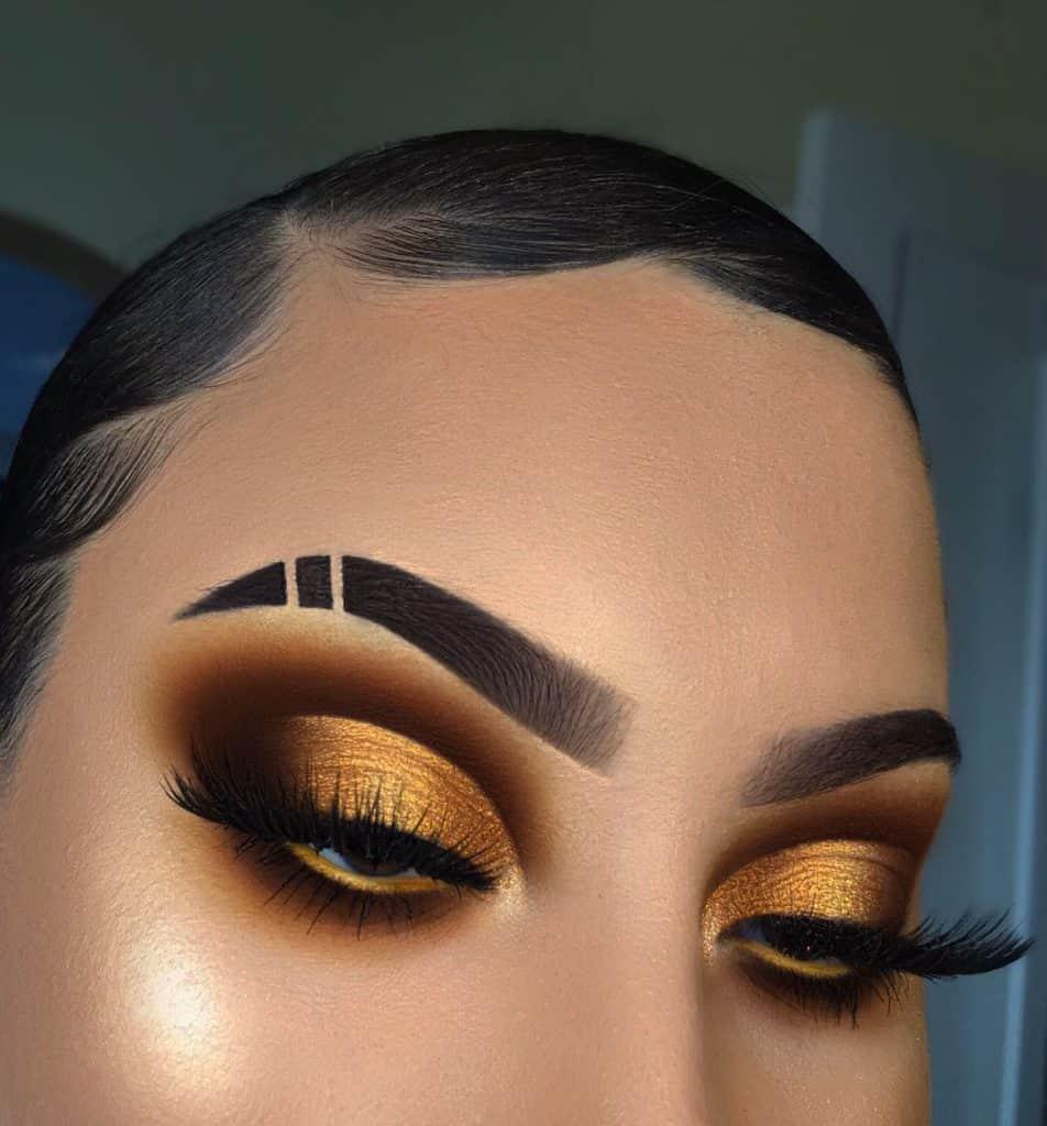 golden brown cutcrease eye makeup look