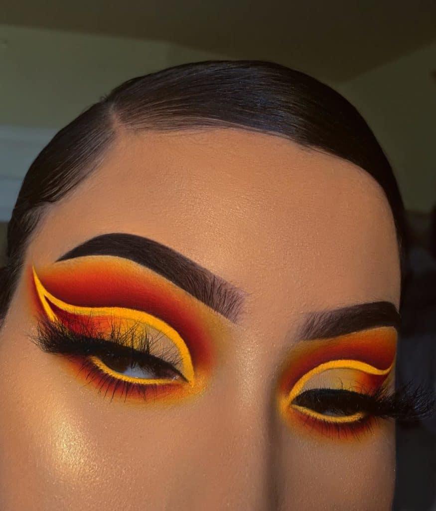 orange and yellow cut crease eye makeup