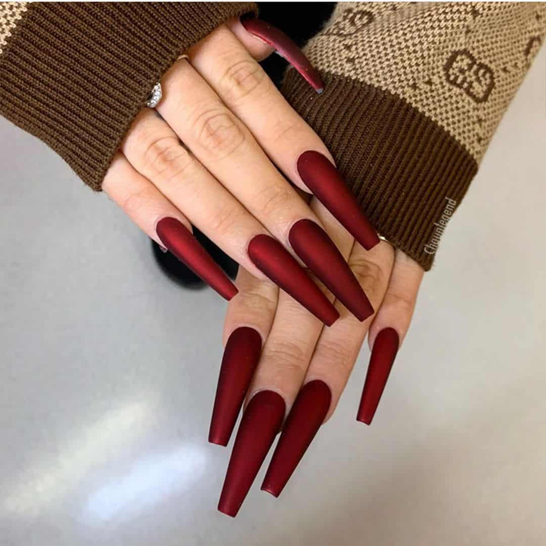 christmas and winter wine red nails