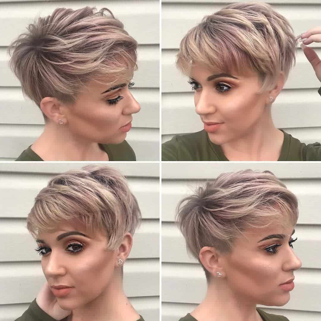 pixie haircut with highlights