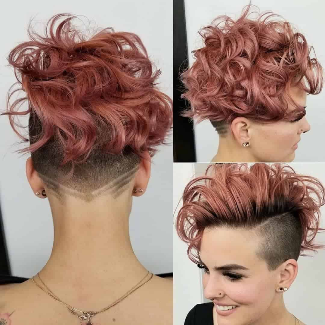 curly dyed tapered haircut