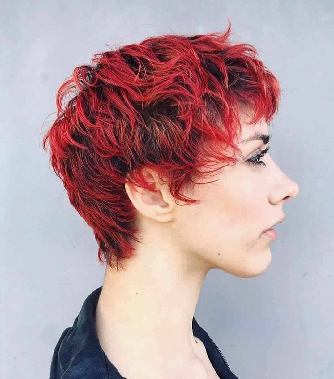 red curly pixie cut