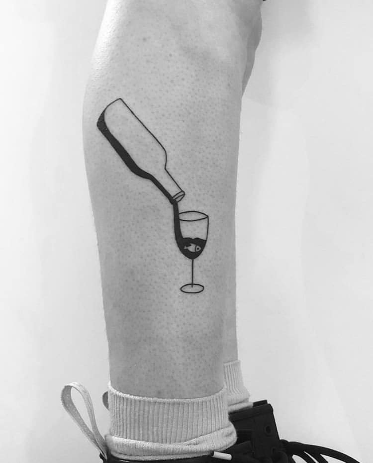Wine glass and bottle minimalist tattoo idea
