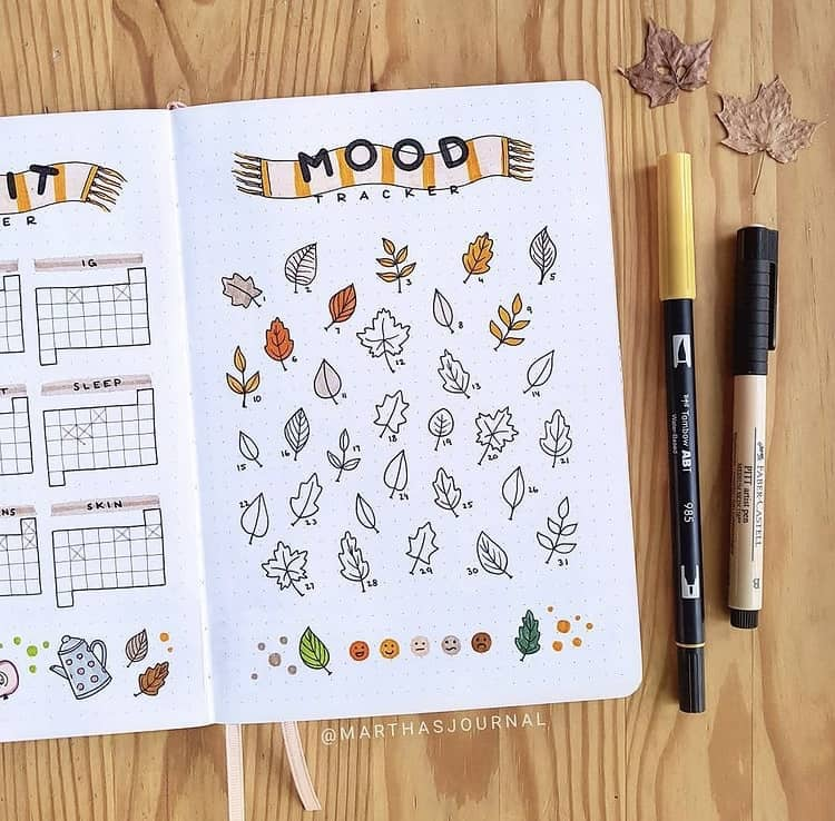 Simple and creative bullet journal mood tracker ideas