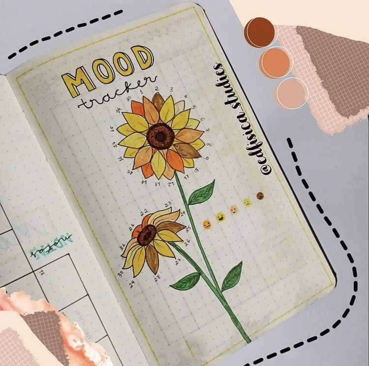 Sunflower bullet journal mood tracker ideas