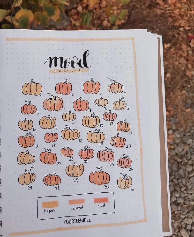 Pumpkin doodles bullet journal mood tracker
