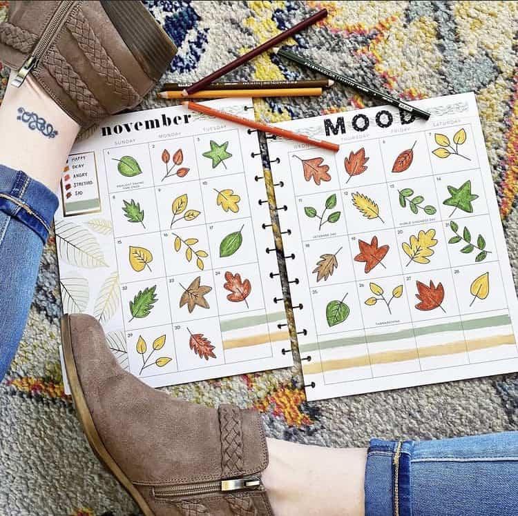 Leaves November bullet journal mood tracker ideas