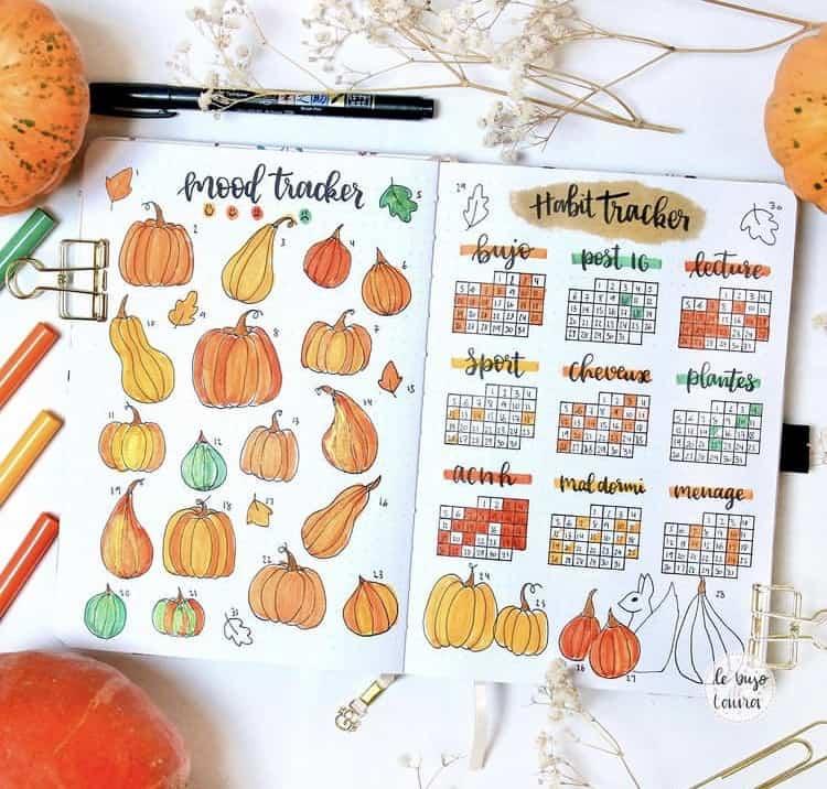 Pumpkin bullet journal mood tracker ideas