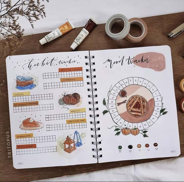 Creative habit and mood tracker bullet journal ideas