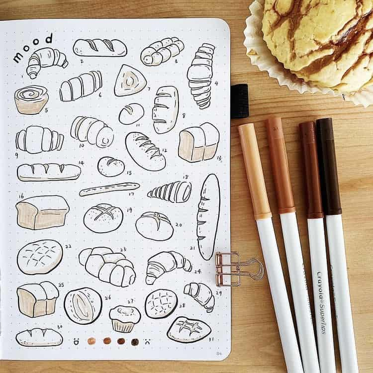 Bread and pastries bullet journal mood tracker ideas