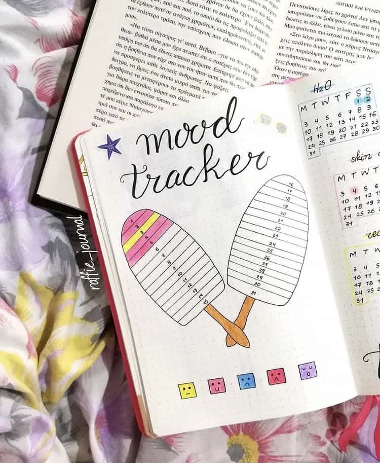 Ice cream popsicle mood tracker
