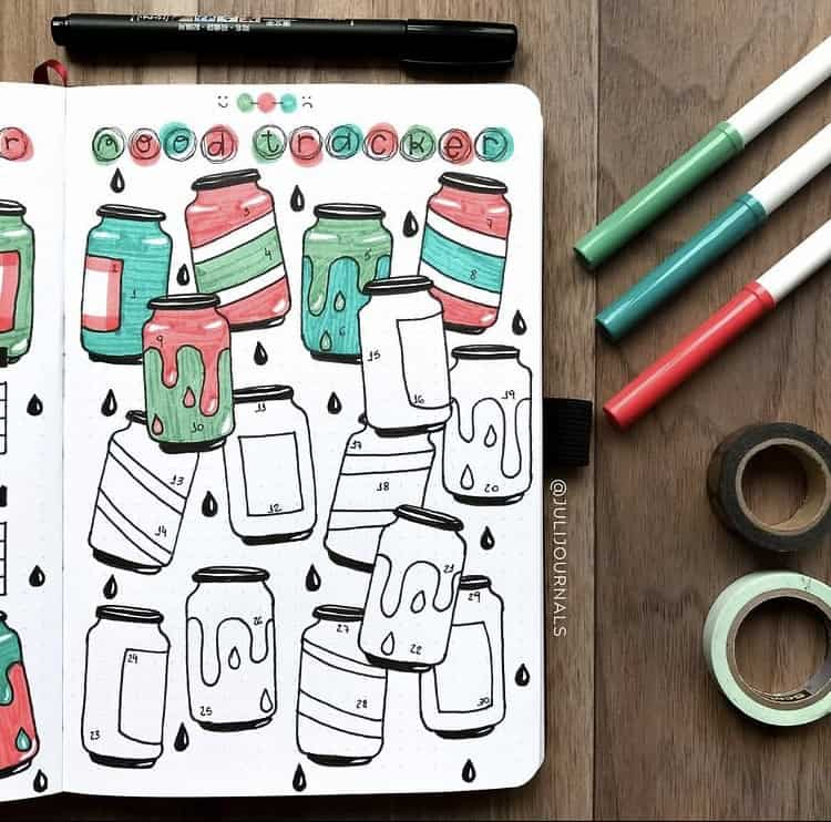 Mason jars mood tracker ideas