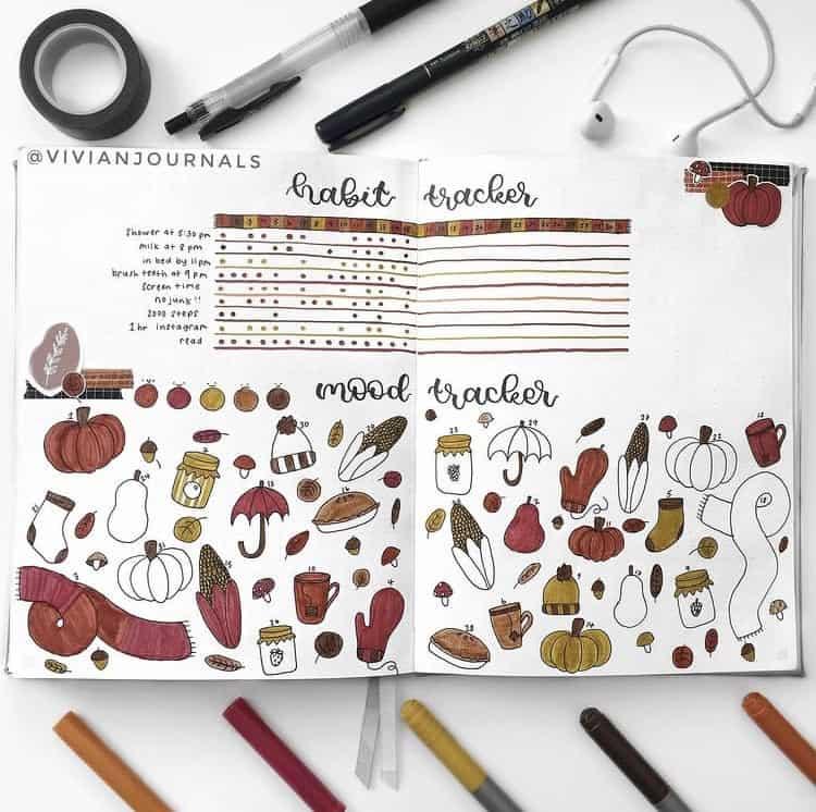 Fall themed mood tracker ideas