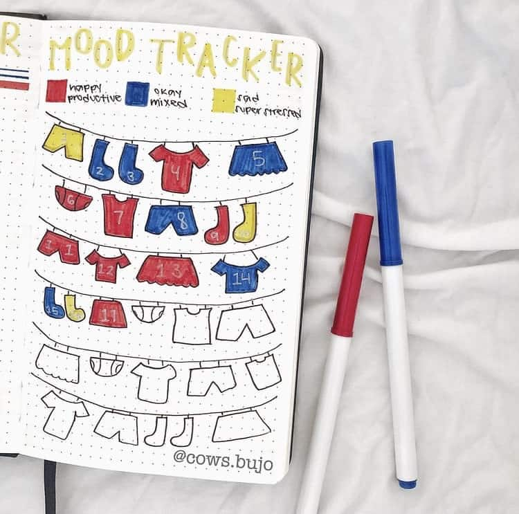 Clothes on a hanging line sketches mood tracker ideas