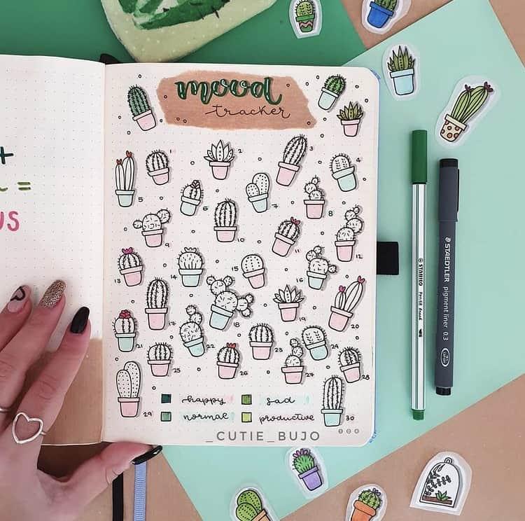 Cute bujo mood tracker ideas