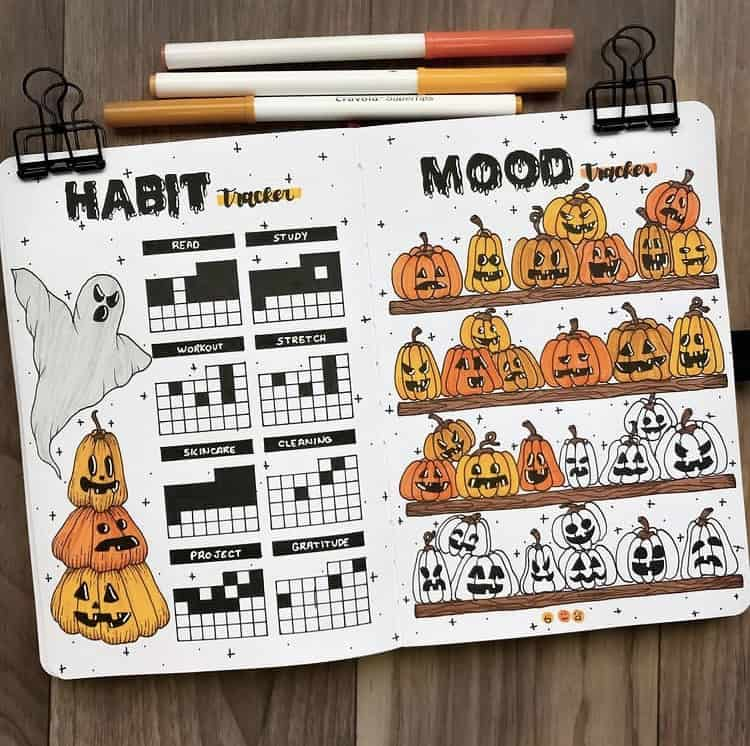 Halloween/October mood and habit tracker ideas