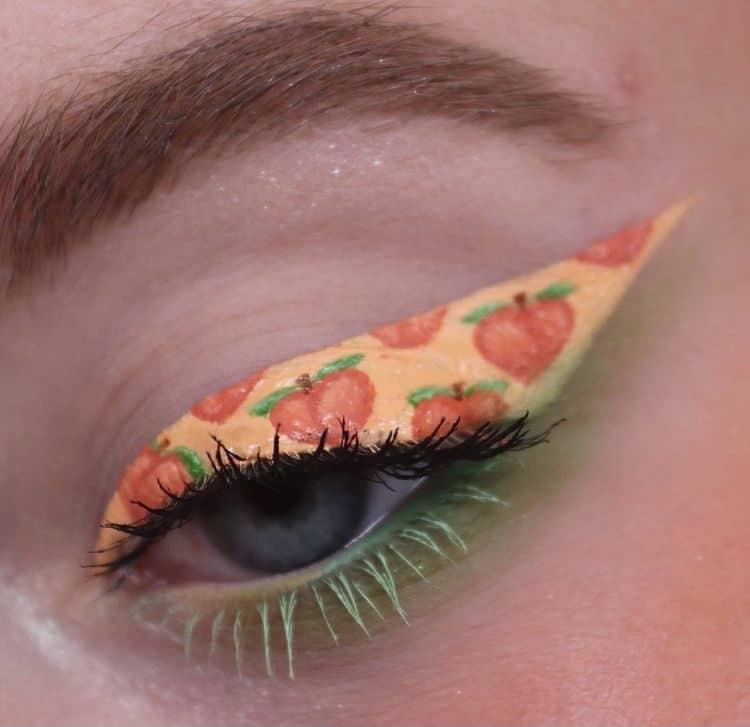 Peach emoji eyeshadow makeup