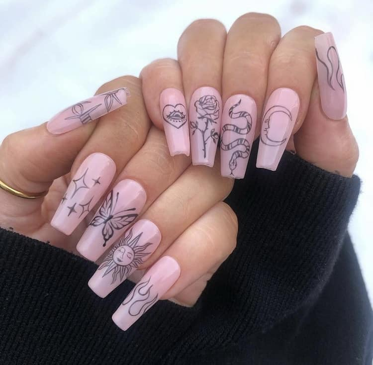 Abstract nails art design