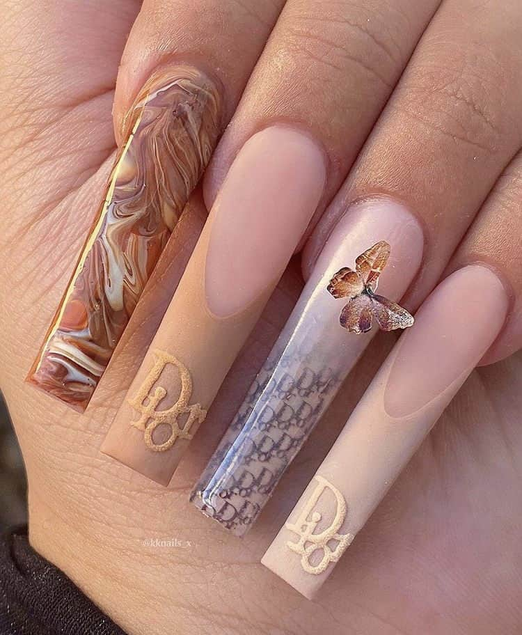 Dior and marble abstract nails art