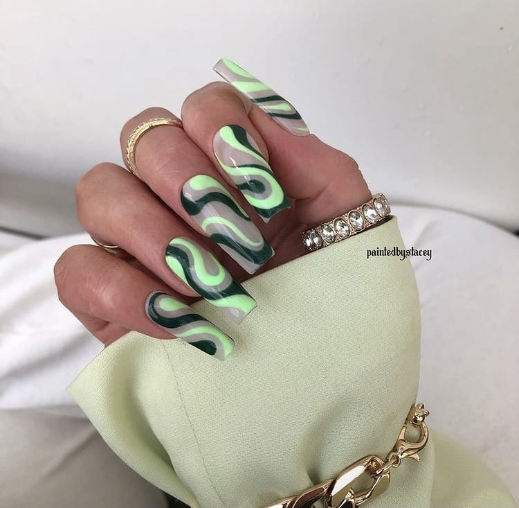 Neon and green swirls