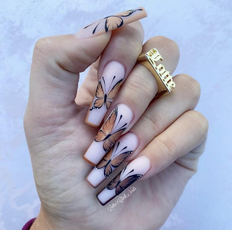 Butterfly nails art design