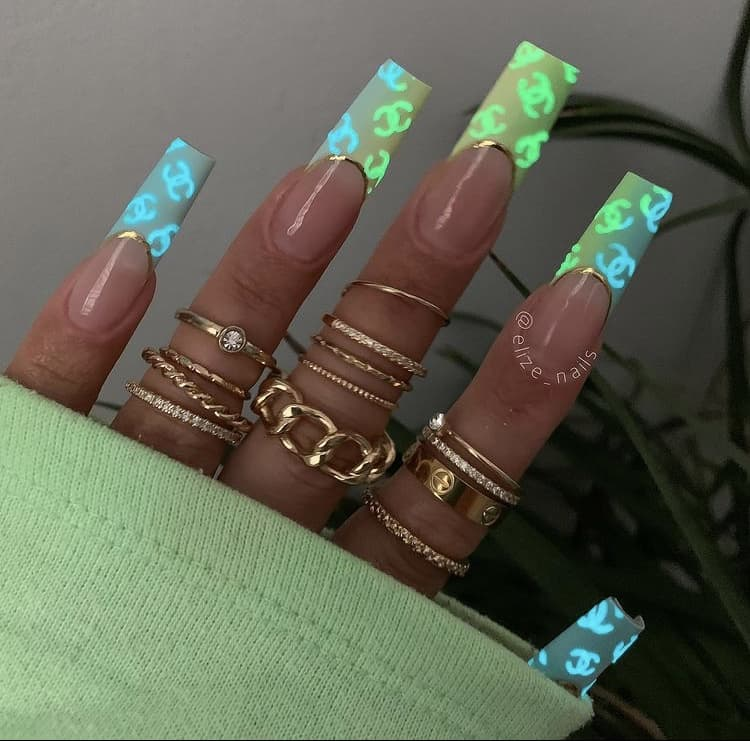 glow in the dark Chanel French nails