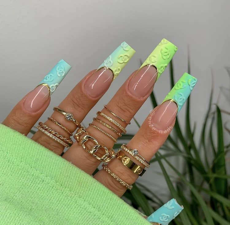 Chanel neon French tips