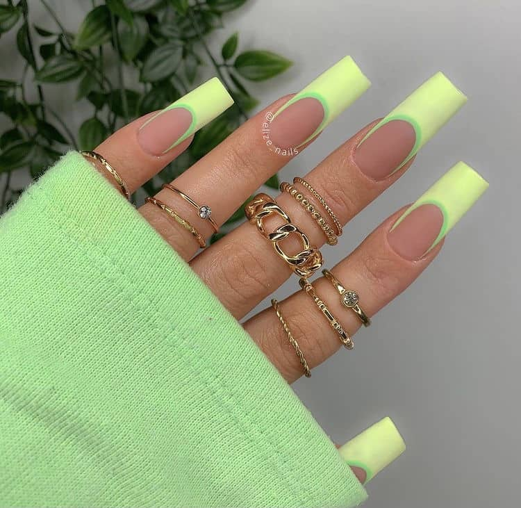 neon green French nails
