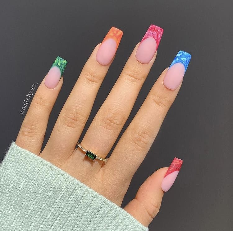 marble multicoloured French tips nails