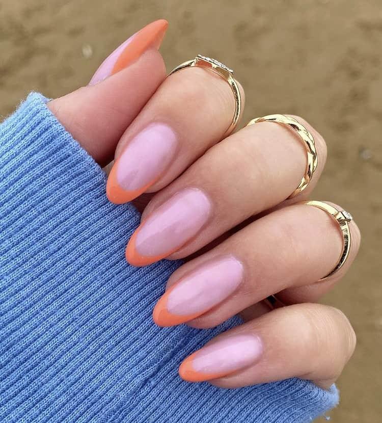 orange French tips nails