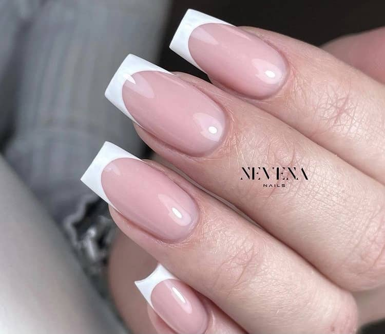 classic French tips nails