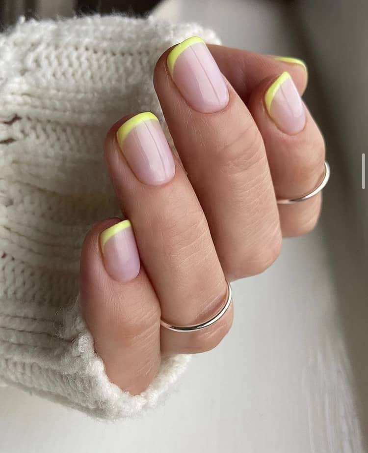 neon green French tips nails