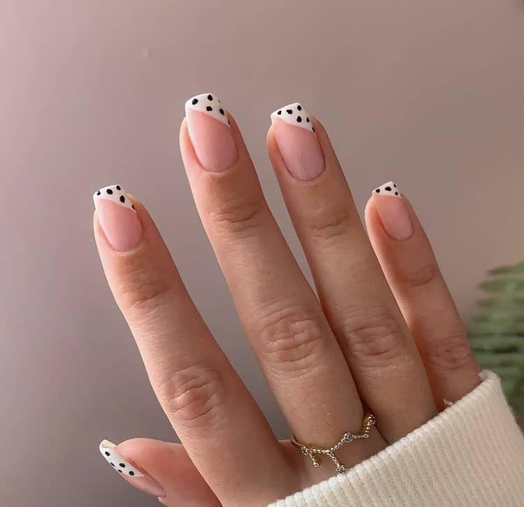 Dalmatians French tips nails
