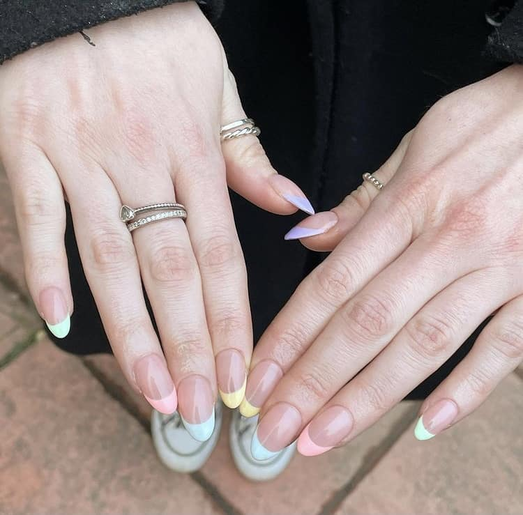 pastel French tips nails