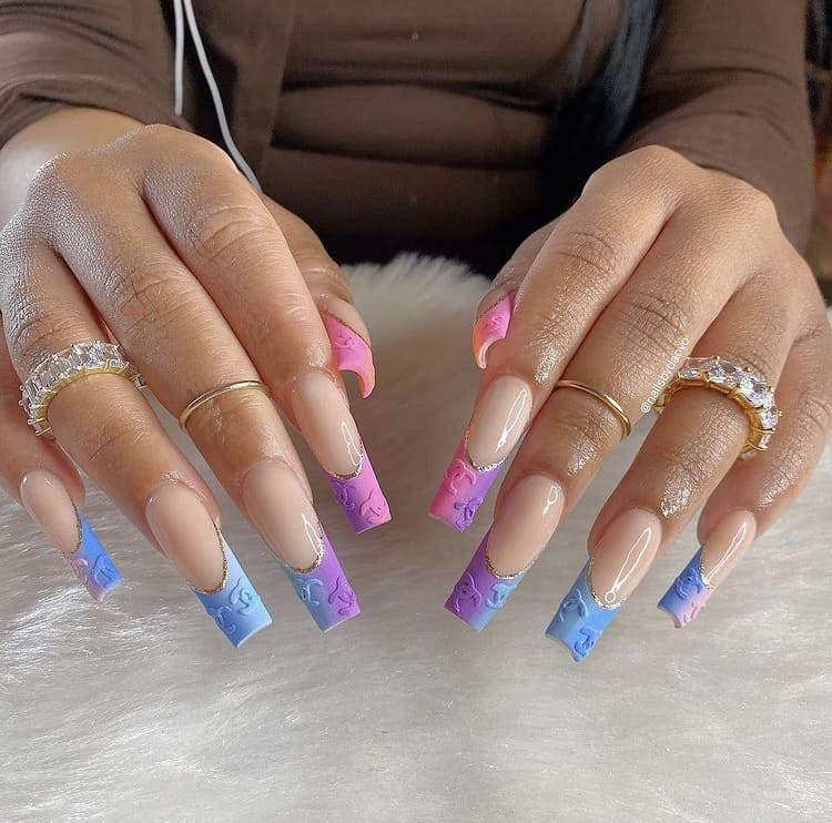 Chanel French tips nails