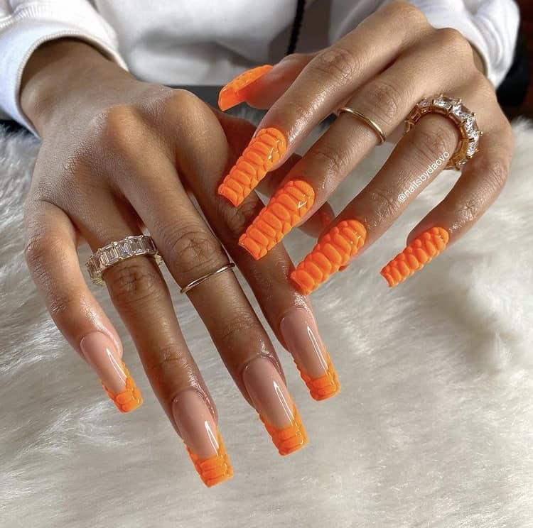 half orange croc French tips nails half full orange croc texture nails