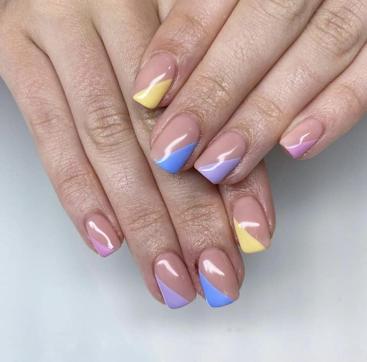 pastel French nails